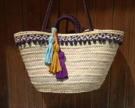 cesta-capazo trenzas y borlas  cesta-capazo de palma,tejido  cordón  trapillo cestería  cosido a mano