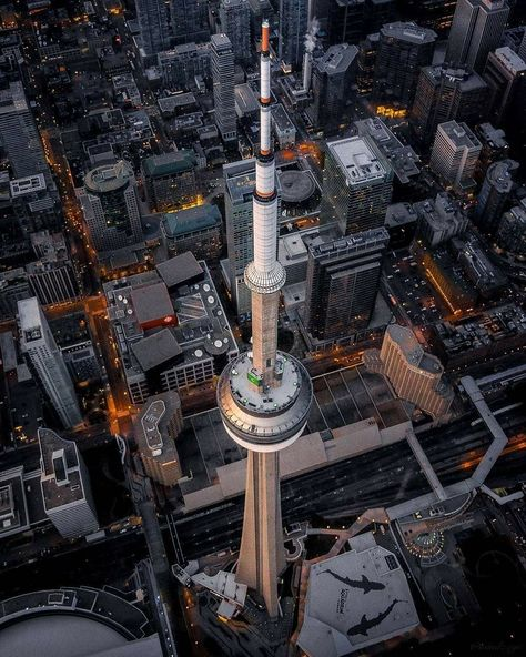 CN Tower Toronto with Aquarium bottom right and Sky Dome bottom left