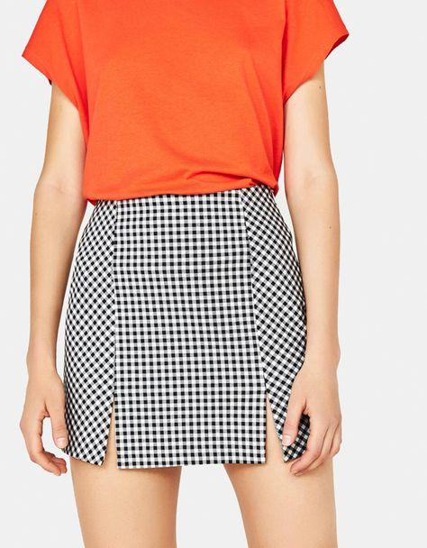 Buffalo check skirt with slits
