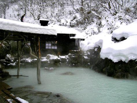 Onsen (hot spring) at Tsuru no Yu ryokan in the Tohoku (Akita Prefecture), Japan