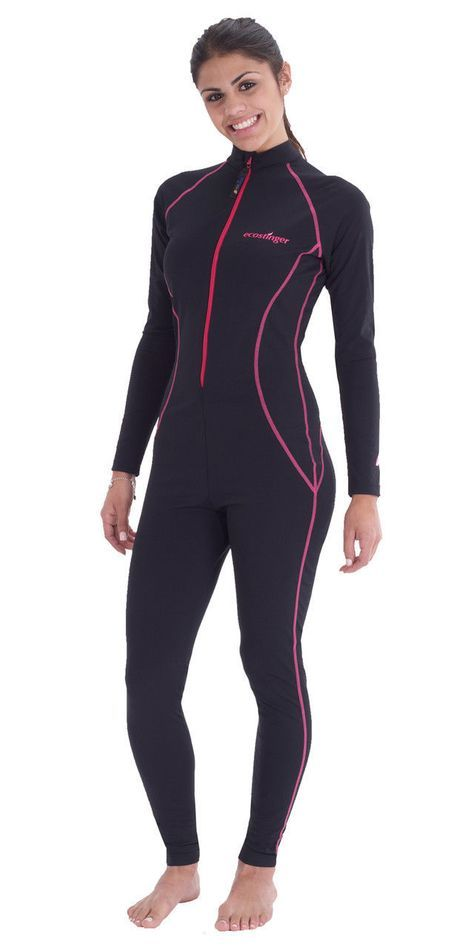 ab40ffecc6 Full body sun protective swim suit upf50+ black pink stitch for ...