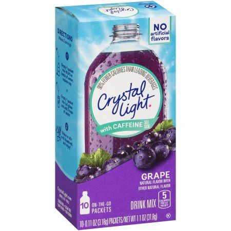 Crystal Light Grape On The Go Powdered Drink Mix With Caffeine 10 Ct 0 11 Oz Packets Walmart Com Energy Drink Mix Mixed Drinks Fruity Drinks