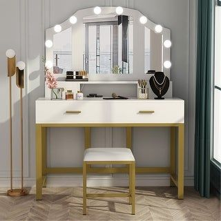 Overstock Com Online Shopping Bedding Furniture Electronics Jewelry Clothing More In 2021 Girls Dressing Table Vanity Set Large Vanity Vanity table with lighted mirror and bench