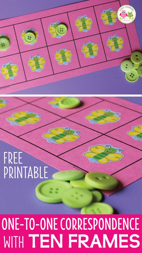 One-to-One Correspondence Activities with a Five or Ten Frame [free printable]