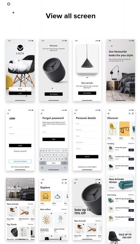 Loza - Furniture Shop App UI Kit #90803 - TemplateMonster