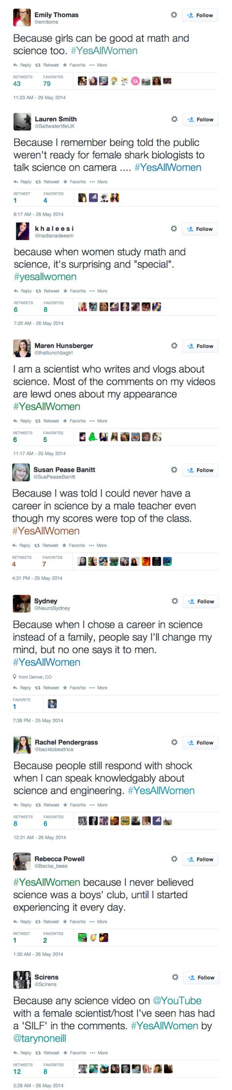#YesAllWomen tweets reveal persistent sexism in science The fact of the matter is, math and science are universal. That means gender-neutral too.