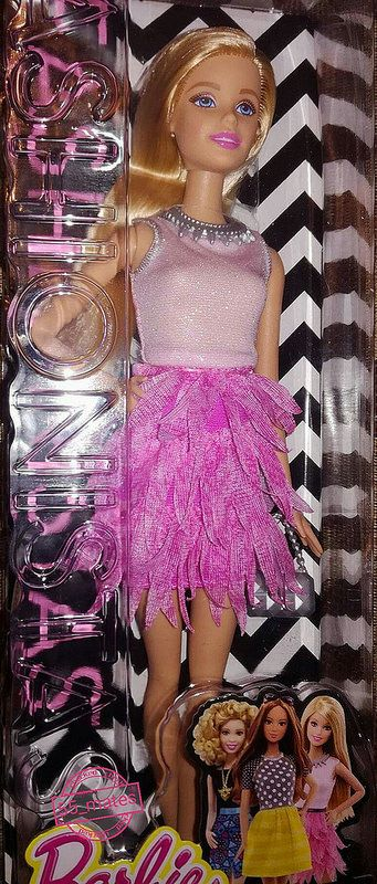 NEW Barbie Fashionista Doll Purple Ruffle /& Pink Glittered Dress ~ Clothing