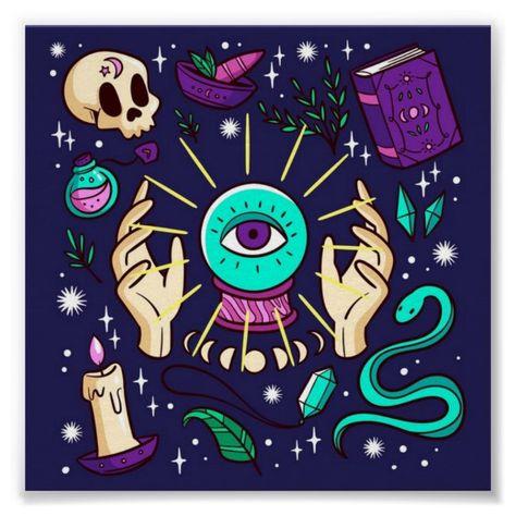 Fortune Teller Mystical Gypsy Crystal Ball Purple Poster