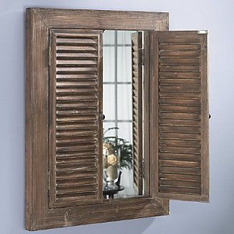 Rustic Mirror Has Hinged Shutters That You Can Open And Close To Suit Your Mood 129 99 Furniture Home Decor Pinterest