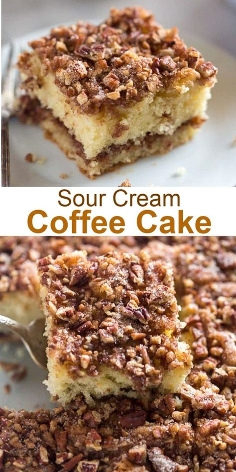 This simple Sour Cream Coffee Cake has a crunchy cinnamon pecan topping inside and is made with basic pantry ingredients. #coffeecake #brunch #easy #cake #breakfast #dessert