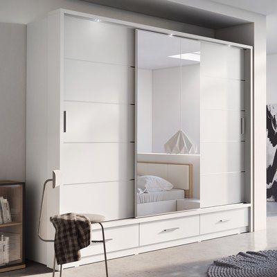 Brayden Studio Tengan 3 Door Sliding Wardrobe In 2020 Wardrobe Design Bedroom Sliding Wardrobe Bedroom Closet Design