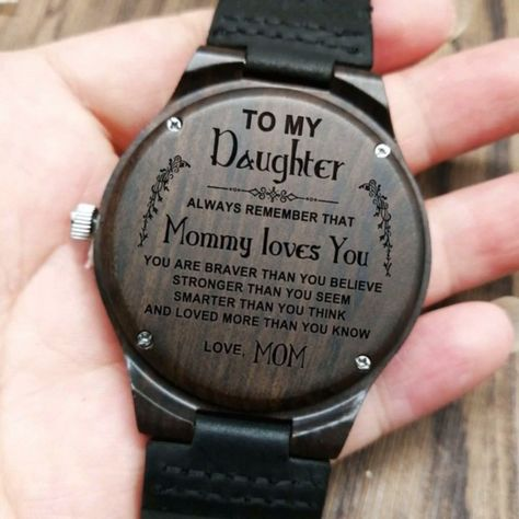 DESCRIPTION:  Perfect gift for your daughter on any kind of occasion such as anniversary, birthday, or graduation. She will love this unique engraved wooden watch with leather belt. This awesome watch comes with perfect wooden gift box that matches with your watch. #giftfordaughter #giftfrommom #perfectwoodenwatch#engravedwoodenwatch #personalizedengravedwatch  #bestgift #perfectgift#memorablegift #personalizedgift#Birthdaygift #graduationgift #anniversarygift  #idealgift #giftforanyoccasion
