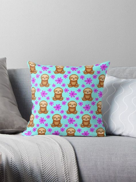 'Funny cute little meditating relaxed chilling zen sloths and pretty pink spring flowers white bright baby blue pattern. Gifts for sloth and nature lovers. Nursery ideas.' Throw Pillow by MerveilleDesign#baby #blue #bright #chilling #cute #flowers #funny #gifts #ideas #lovers #meditating #merveilledesign #nature #nursery #pattern #pillow #pink #pretty #relaxed #sloth #sloths #spring #throw #white #zen
