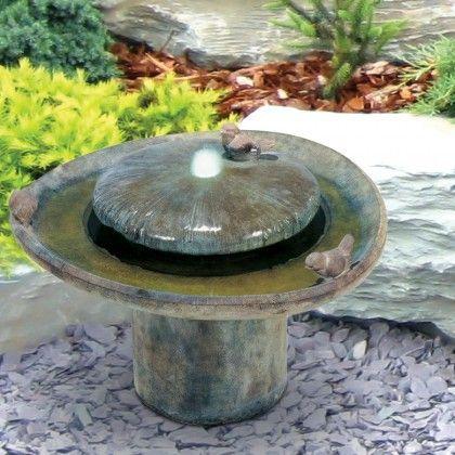 Zierbrunnen Birdbath Henri Studio Wasserspiel Vogelbad Vogelbad Steinbank Brunnen