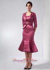 Popular Modest Burgundy Mermaid Mother Of The Bride Dress Straps Knee-length Taffeta - US$132.79  www.dresses100.com  2013 2014 2015 burgundy dress for cocktail hour