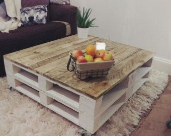 Pallet Coffee Table 'LEMMIK' Farmhouse Style by FarmhousePalletsCo