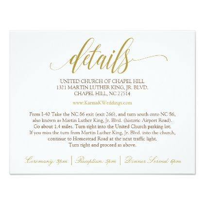 Wedding Details Card Luxe Calligraphy Gold Zazzle Com Wedding Details Card Typography Wedding Invitations Wedding Details