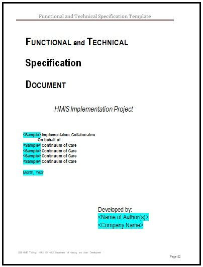Functional Specification Templates 2 Printable Word Formats