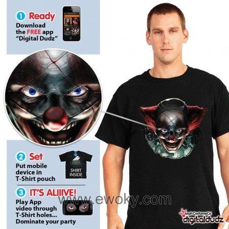 Para Hombre Digital Dudz Freaky Payaso Ojos Halloween Camiseta Fancy Dress Costume
