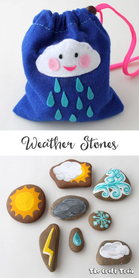 Weather stonee craft for creative play, learning and to use as story stones Make some weather stones in a simple felt drawstring bag to help kids learn about weather. This is a simple rock painting craft and makes a cute DIY toy too Toddler Fun, Toddler Crafts, Crafts For Kids, Summer Crafts, Kids Fun, Easy Crafts, Preschool Weather, Preschool Science, Learning Weather