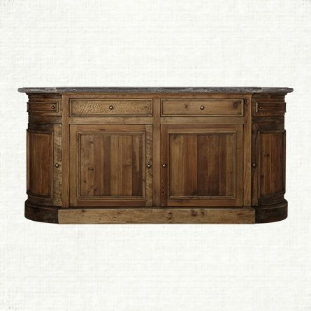 Shop Arhaus For The Kensington Buffet With Bluestone Top In Brown Handcrafted From Solid Planks Of Reclaimed Pine Antique Brass Hardware