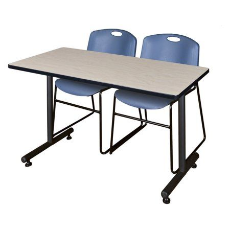 Cain 48 inch Maple Square Breakroom Table and 4 Zeng Stack Chairs