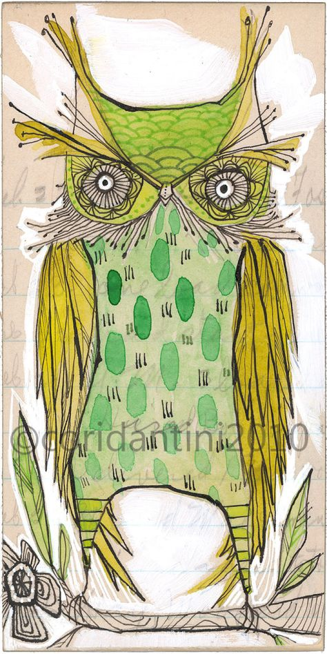 ON SALE green owl - illustration - 5 x 10 inches - limited edition and archival watercolor by cori dantini
