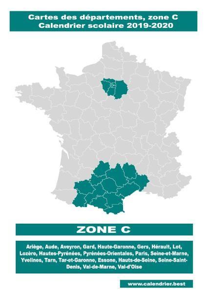 Vacances zone C : carte des départements en 2020 | Calendrier