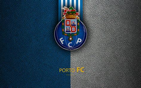 Download wallpapers Porto FC, 4K, leather texture, Liga NOS, Primeira Liga, emblem, logo, Porto, Portugal, football, Portugal Football Championships