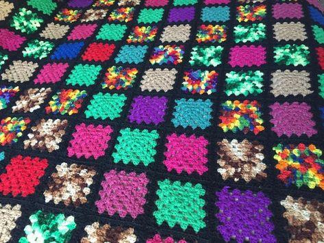handmade Wool Afghan Granny Square...