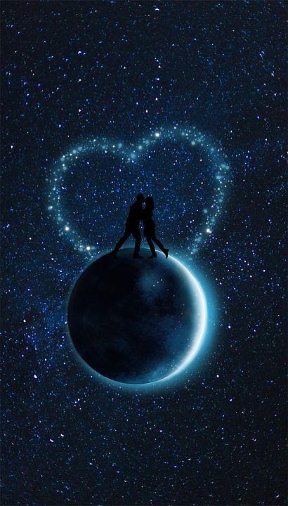 Luna, Pareja, Corazón, Azul, Universo, Estrellas