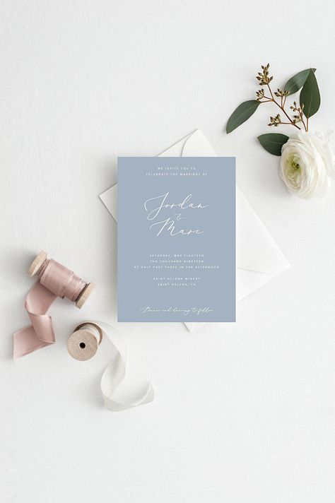 Dusty Blue Wedding Invitation Printable Wedding Invite