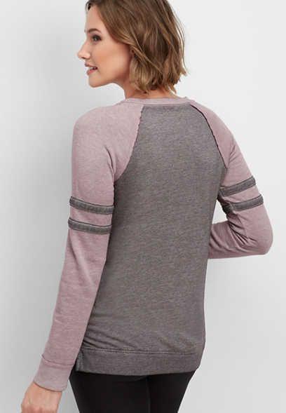 stripe sleeve football sweatshirt comfy and cozy!   Trendy