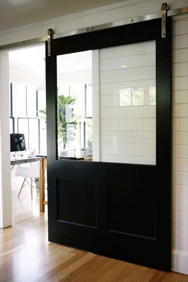 Ensemble porte coulissante Atelier alu verre clair avec rail Bolero
