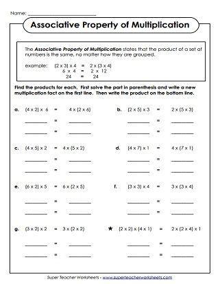 Commutative Property Of Multiplication Worksheets Associative Property Properties Of Multiplication Distributive Property Of Multiplication Identity property of addition worksheets