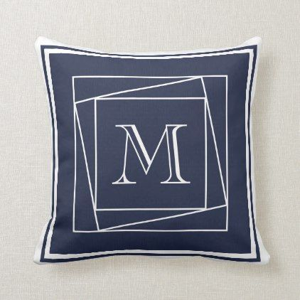 Modern Navy Blue And White Nautical Monogrammed Throw Pillow
