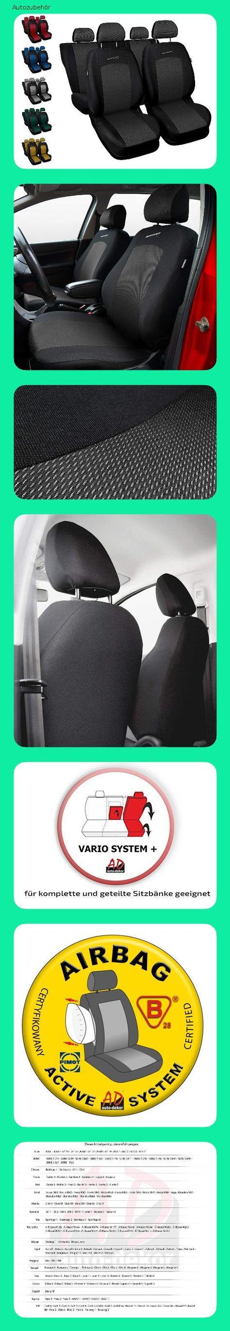 Sport Line Sitzbez/üge Auto universal Set Autositzbez/üge Schonbez/üge schwarz-grau Vordersitze und R/ücksitze mit Airbag