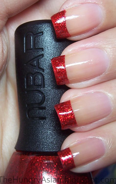 Sparkly Red Christmas Tips by The Hungry Asian (nail polish manicure)
