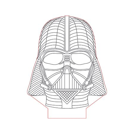 Darth Vader Helmet Face 3d Illusion Lamp Plan Vector File Op For Laser And Cnc 3bee Studio 3d Illusions Darth Vader Helmet 3d Illusion Lamp