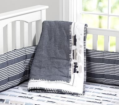 Thatcher Train Nursery Bedding #pbkids love the sheet but with the Bright Border bumper and navy cable knit blanket