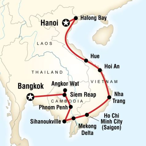 Map Of The Route For Cambodia Vietnam On A Shoestring With