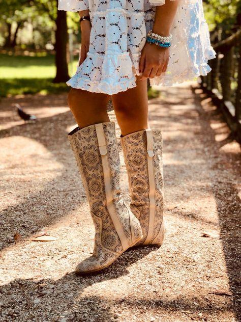 Stivali Stile Pizzo Estivi in Vera Pelle con Zeppetta Interna #boots #lace #summer #ibiza #madeinitaly #stivali #traforati