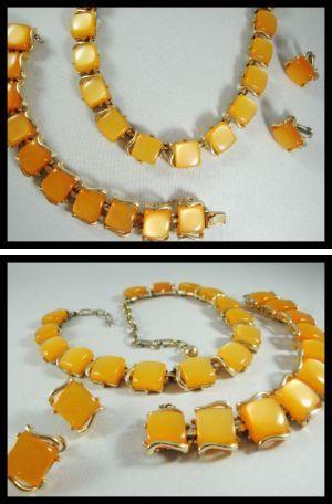 Coro Thermoset Bracelet Necklace Clip Earrings Coro Orange Thermoset Jewelry Set Vintage Orange Moonbeam Bracelet Necklace Clip Earrings