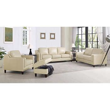 Dobson 4 Piece Top Grain Leather Set Leather Sofa And Loveseat Leather Sofa Living Room White Leather Sofas
