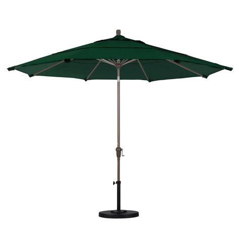 California Umbrella 11 Ft Champagne Aluminum Market Patio Umbrella With Auto Tilt Crank Lift In Forest Green Sunbrella In 2019 Products Patio Outdoor Dec