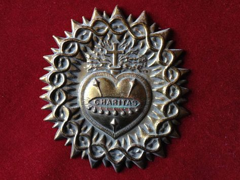French sacred heart antique charitas charity heart ex voto brass