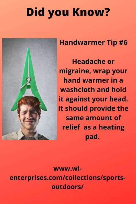 Handwarmer Tip #6 - Use a handwarmer in place of a heating pad for your headache or migraine. #handwarmers #warmth #bodywarmers #headache #migraine #tension #stress #anxiety #tipoftheday #tips #heatingpad