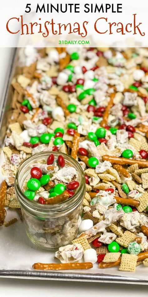 5 Minute Christmas Crack: A Simple Sweet and Salty Snack - 31 Daily - - Tis the season for sweet and salty, and easy. This simple Christmas Crack can be made in 5 minutes or less -- and is incredibly tasty. Does it get better than that? Christmas Crack, Simple Christmas, Christmas Treats, Holiday Treats, Holiday Recipes, Christmas Recipes, Christmas Cookies, Christmas Apps, Christmas Desserts