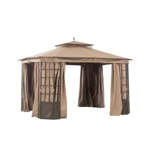 Apex Garden Harmony 10 Ft X 10 Ft Gazebo With Mosquito Net And Corner Shelves Gf 20s057b The Home Depot Gazebo Hampton Bay Diy Gazebo