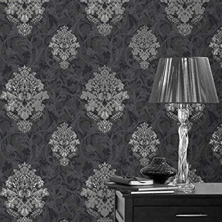 Crown Arabesque Wallpaper M0552 Amazon Co Uk Amazon Co Uk Damask Wallpaper Black Wallpaper Damask